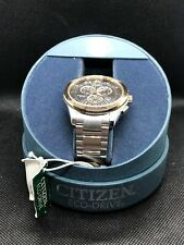Citizen AT2176-58E Eco-Drive Chronograph Rose Gold & Silver Tone Date Mens Watch