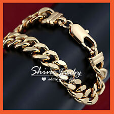 14k Yellow Gold GF Diamond Cut Cuban Curb Rings Links Solid Mens Womens Bracelet