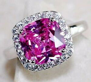 3CT Pink Sapphire & Topaz 925 Sterling Silver Ring Jewelry Sz 6, M2
