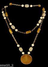Bronze Colour  Chain Multi Strand Caramel & Cream Beaded Necklace CJN1046