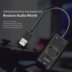 New ORICO USB Sound Card For Microphone Earphone 2 in1 With 3 Port Output Volume