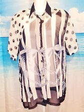FASHION AGE Woman's SHEER Career Casual Blouse BLUE & WHITE Button Down Top Lg