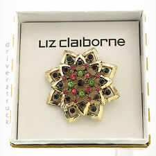 LIZ CLAIBORNE Faux CRYSTAL Multi-Color FLOWER BROACH Pin GOLD New in GIFT BOX