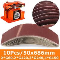 10 Stück Gewebe Schleifbänder Schleifband Gewebe 50x686mm 60/120/150/240 Grit