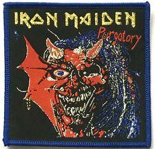 IRON MAIDEN - Purgatory - Woven Patch Sew On Golden Logo Blue Edging NWOBHM