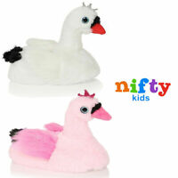 Nifty Kids 3D Novelty Swan Slippers Girls Plush Soft Bird Bootie Indoor Footwear