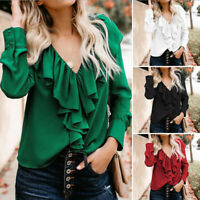 Women Long Sleeve Ruffle Casual Blouse Shirt V Neck Ruched Top Tee Oversized