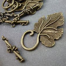 5 Antique Bronze Leaf Toggle Clasps Kitsch Vintage