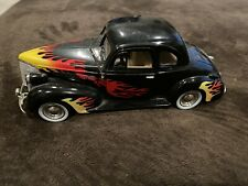1939 Chevy Coupe Die-cast Car 1:24 Motormax 8 inch Black With Flames