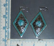 Handmade Tibetan Silver & Turquoise Earrings