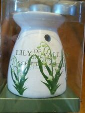 Lily of the Valley Ceramic Wax Warmer/Burner White with 4 Tealights