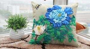 DIY Handmade Robbin Embroidery Cushion Cover Kit - Flower and Butterfly