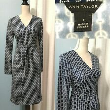 Ann Taylor Womens 8 Chain Navy White Jersey Stretch Wrap Dress Long Sleeve Sexy