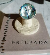 "Silpada ""Classic Rock"" Sterling Silver Size 7 Abalone Statement Ring R2760"