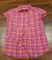 The North Face Pink Purple Orange Plaid Button Front Shirt Womens Size Small