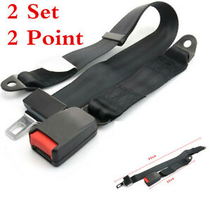 2 Sets Black High-grade Polyester 2 Point Car Safety Seat Belt Lap Adjustable