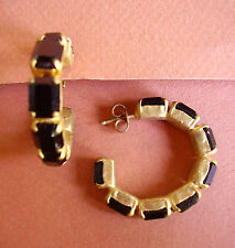 1260 /  BOUCLES D'OREILLE PERCEES STRASS RECTANGLES  NOIRS
