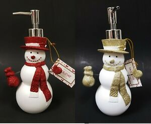 ENVOGUE HOLIDAY WHITE,GOLD,RED SNOW MAN SOAP,LOTION DISPENSER,CHROME SILVER PUMP