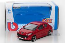 Peugeot 207 in red, Bburago 18-30141, scale 1:43, toy gift model boy