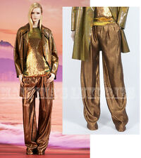 $1,400 GUCCI PANTS IRIDESCENT BRONZE LAME RELAXED FIT sz IT 42 / US 6
