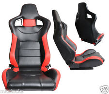 2 BLACK & RED LEATHER RACING SEATS RECLINABLE + SLIDERS VOLKSWAGEN NEW **