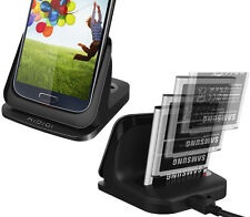 KiDiGi BLACK BATTERY CHARGER CRADLE THIN DOCK 3.5mm AUDIO FOR SAMSUNG GALAXY S4
