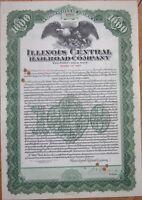 1927 Gold Bond Certificate: 'Illinois Central Railroad Company' - $1000