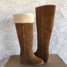UGG CLASSIC FEMME OVER THE KNEE CHESTNUT SUEDE WEDGE TALL BOOTS SIZE 10 WOMEN