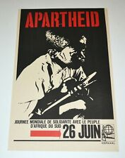 Political OSPAAAL Solidarity 1967 Original Cuban Poster.Apartheid.Africa.French