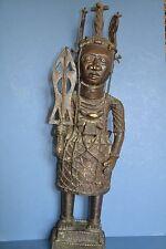 Large (76cm) Mid 20th Century African Benin Bronze Standing Warrior Statue,c1950