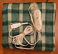 Sunbeam Comfort Zone Heated Electric Throw Blanket 3-Setting Bag Green Plaid