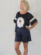 Navy Cameo Pajama Lace Short Set Women's Victorian Style