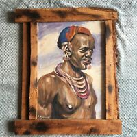 Vintage African Man Painting Aborigine Wall Art Rustic Wood Frame Primitive