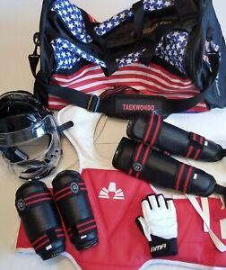 EUC Taekwondo Karate Sparring Gear with Red White & Blue Duffle Bag