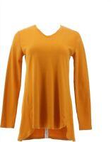 Isaac Mizrahi Essentials Pima Cotton Hi-Low Hem Top Inca Gold L NEW A343365