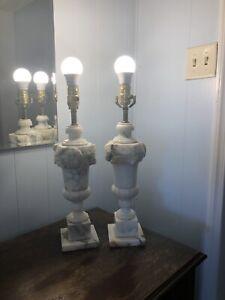 Vintage Lot SOLID ALABASTER MARBLE CARVED TABLE LAMPS MID CENTURY URN Antique