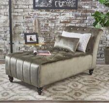 00006000 Gray Armless Velvet Chaise Lounge Chair Bench Bedroom Living Room Furniture Grey