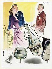 """""""EAU-DE-VIE LA PRUNA"""" Annonce originale entoilée BRENOT / PLAISIR DE FRANCE 1947"""