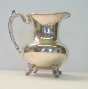 Oneida Silverplate Footed Water Pitcher with Ice Catcher and Beaded Rim
