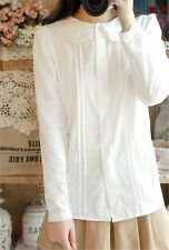 Women's Lolita French Toast White Shirt Long Sleeve Peter Pan Collar Blouse Top