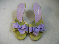 Russell and Bromley shoes size 5, green with lilac ribbon bows, £19.50.