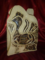 Naiive studio POTTERY BIRD VASE Aztec influence / Abstract / Signed / Artistic