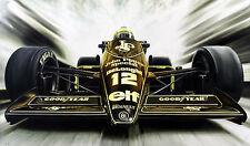 Ayrton Senna Lotus Renault 98T Formula 1 Race Car 1986 CANVAS Art Print Poster