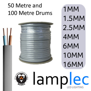 Drums Of Twin and Earth Cable 50M & 100M 1mm 1.5mm 2.5mm 4mm 6mm 10mm 16mm 6242Y