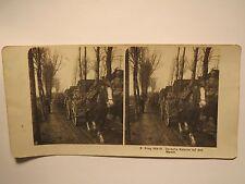 1. Weltkrieg - Deutsche Kolonne auf dem Marsch - Soldaten Pferde / Stereofoto