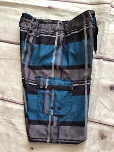 Hang Ten Boys Cargo Board Shorts Youth Size M 10-12 Years Pockets Blue Grey