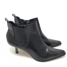 Donald J Pliner Boots Size 7.5 Leeo Ankle Womens Black Leather Kitten Heel