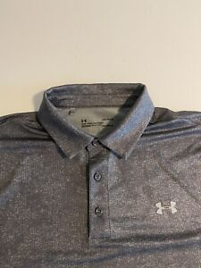 Under Armour Heat Gear Mens Large Gray Designed S/S Golf Polo Shirt
