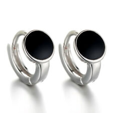 925 Sterling Silver Earrings Hoop Huggie For Women Jewellery Black Round Style