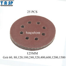 25PC 125mm 5-Inch Abrasive Sanding Paper Disc  8 Hole Hook & Loop 60~320 Grits